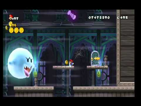New Super Mario Bros Wii 100 Walktrought World 4 Ghosthouse All