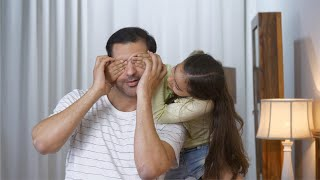 Father and Daughter Playing - Indian clip of little girl surprising her father by covering his eyes from behind