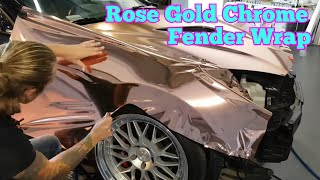 ROSE GOLD CHROME. Detailed info on how to wrap your fender. How to wrap your car. By @CKWRAPS