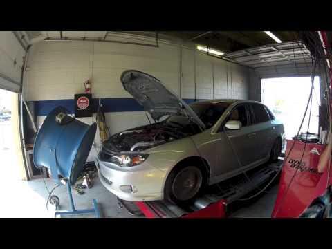 Garrett's 2010 Subaru WRX with rotated gt3076R turbo break in dyno  315whp