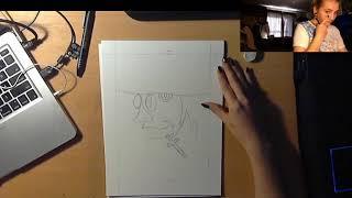Female Bob Ross of drawing anime doing Hellsing!!