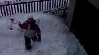 Jumping to snow from the roof