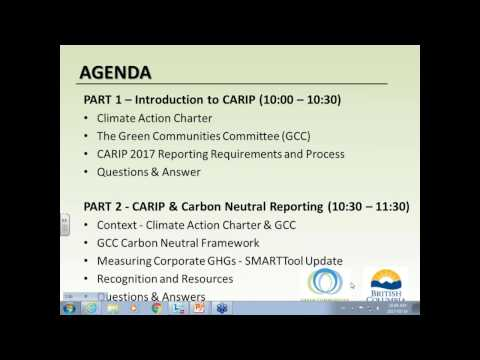 Refresher on CARIP and Carbon Neutral Reporting Webinar   March 2017