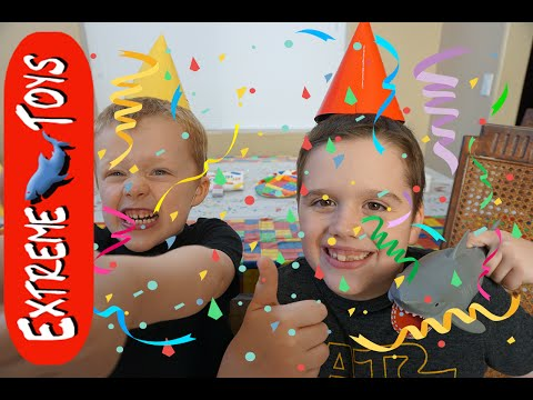 Extreme Toys TV Hundred Million Views Celebration! Ethan, Cole, and Jaws the Toy Shark have a Party