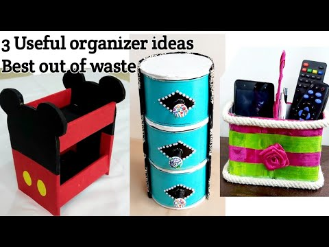 DIY Organizers from recycled materials#3#Bestoutofwaste craft ideas for home #Recycle waste material