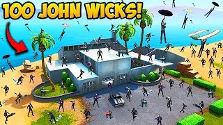 100 JOHN WICKS LAND AT JOHN WICKS HOUSE! - Fortnite Funny Moments! #560
