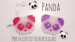 Panda Porta Cuffie Auricolari 3d Pyssla Hamabeads 3d