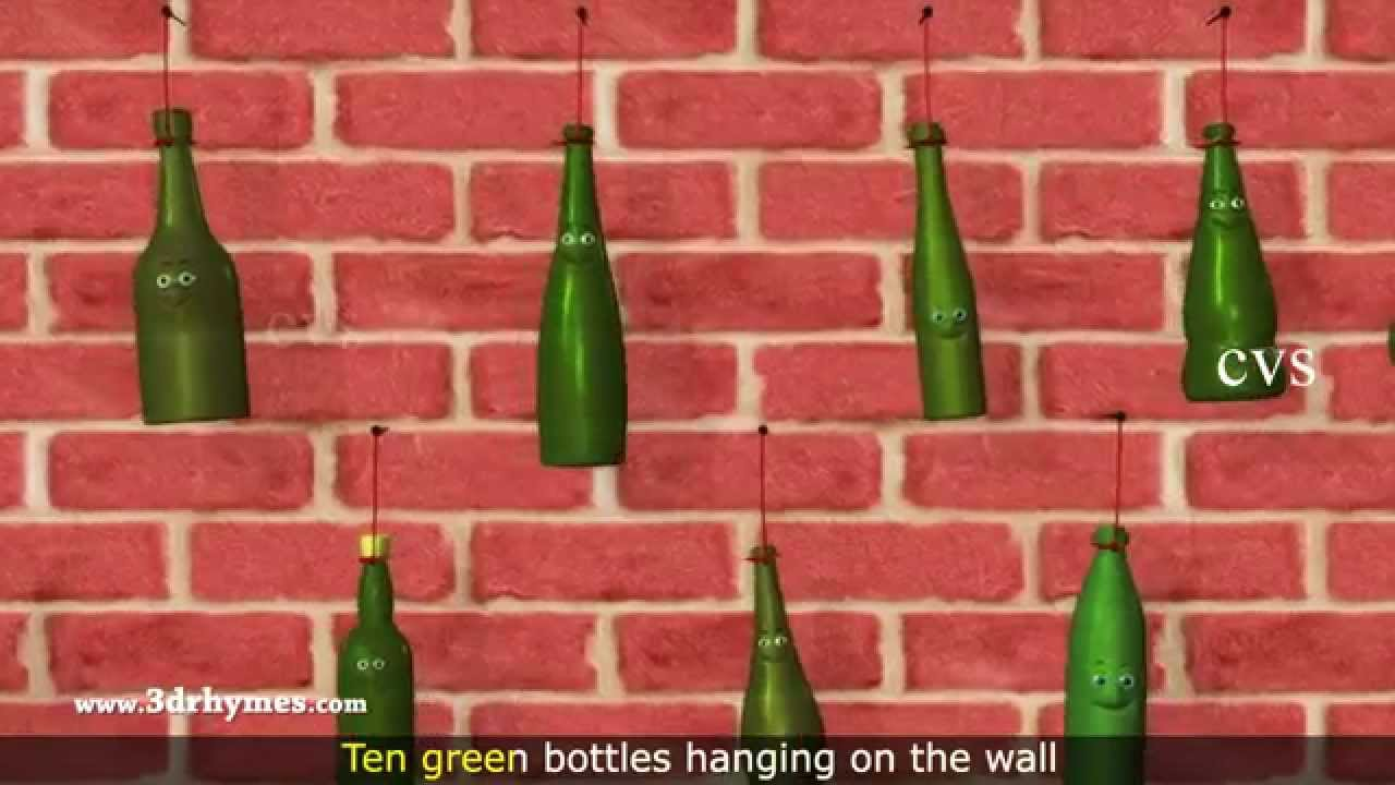 Ten Green Bottles Hanging On The Wall 3d Animation