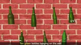 Ten Green Bottles Hanging on the Wall - 3D Animation Nursery Rhyme for children