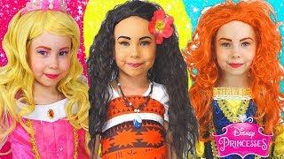 Kids Makeup & Costumes Disney Princess Dresses MOANA, Merida, Aurora, Rapunzel,Cinderella-Collection
