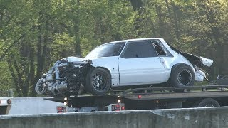 Section 8 Twin Turbo Mustang Wreck at OSCR 5