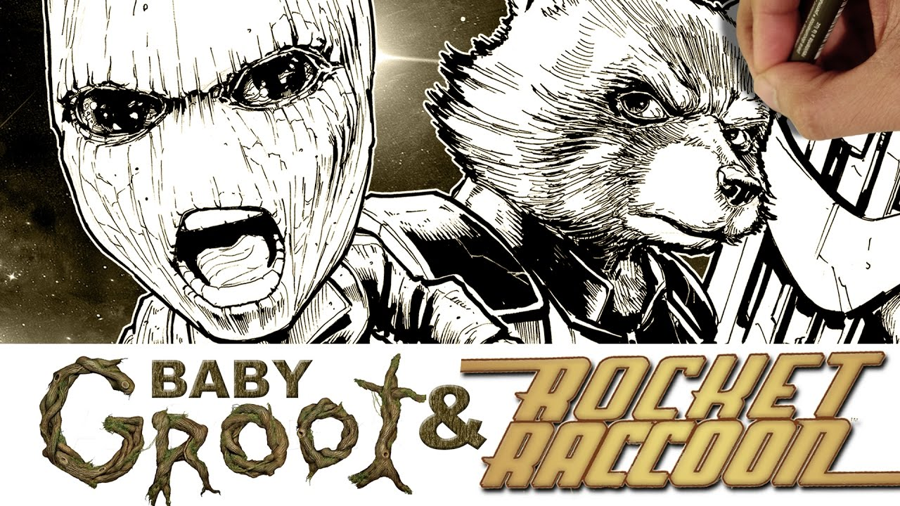 Drawing Baby Groot Rocket Raccoon From Guardians Of The Galaxy