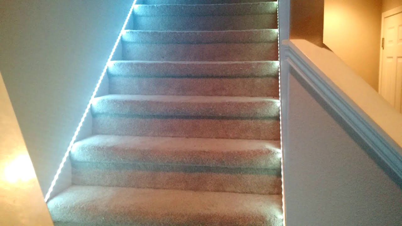 LED stair lights - YouTube