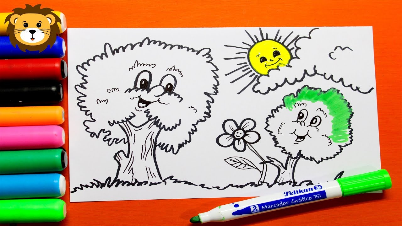Como Dibujar Paisajes Infantiles Dibujos Para Ninos Draw And