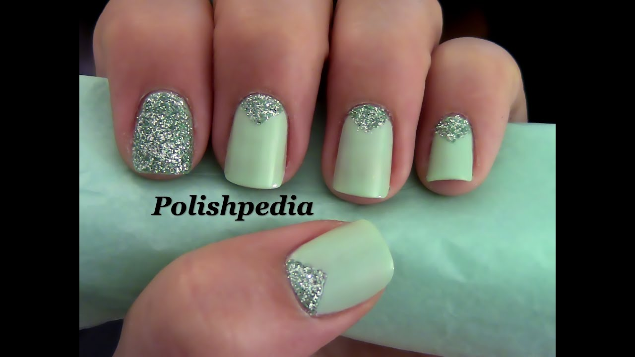 Triangle Nails With Glitter Youtube