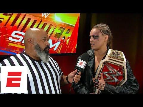 Ronda Rousey talks after winning WWE Raw Women's Championship at SummerSlam | ESPN