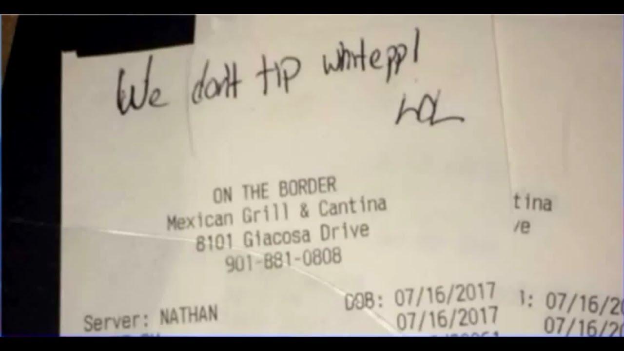 we don t tip white ppl lol message written on receipt youtube