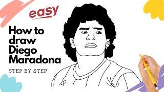 How to draw Diego Maradona the Legend step by step easy | Kitz Drawing