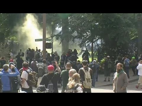 14 arrested after Portland protests turn violent