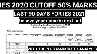 IES 2021 Last 90 days, IES 2020 topper marks and cut-off analysis