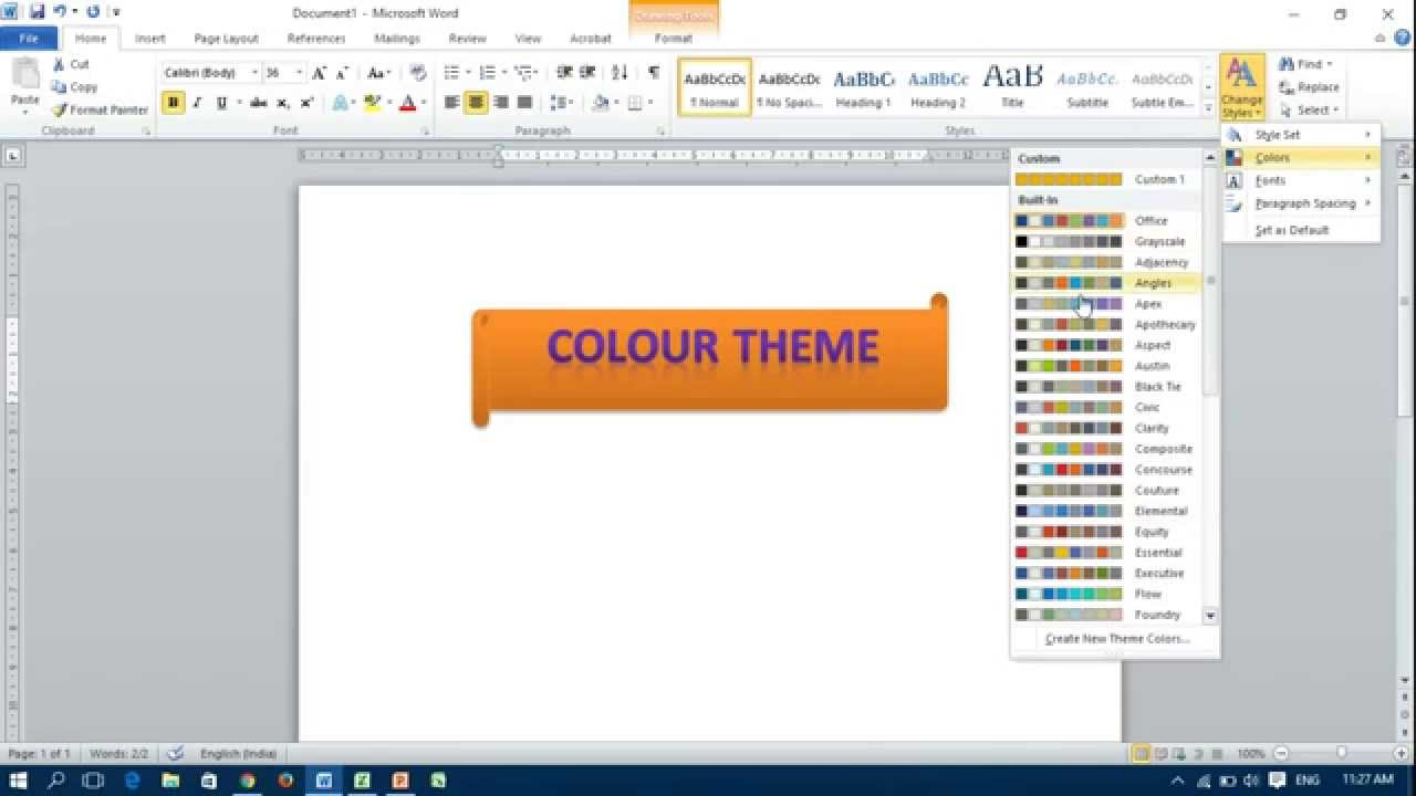location of themes option in ms word excel and powerpoint youtube