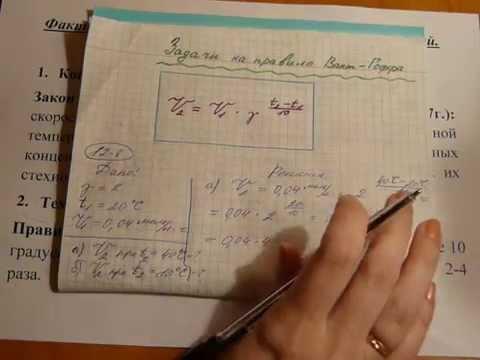 Решение задач на температурный коэффициент вант гоффа решение задачи по организации производства с примерами