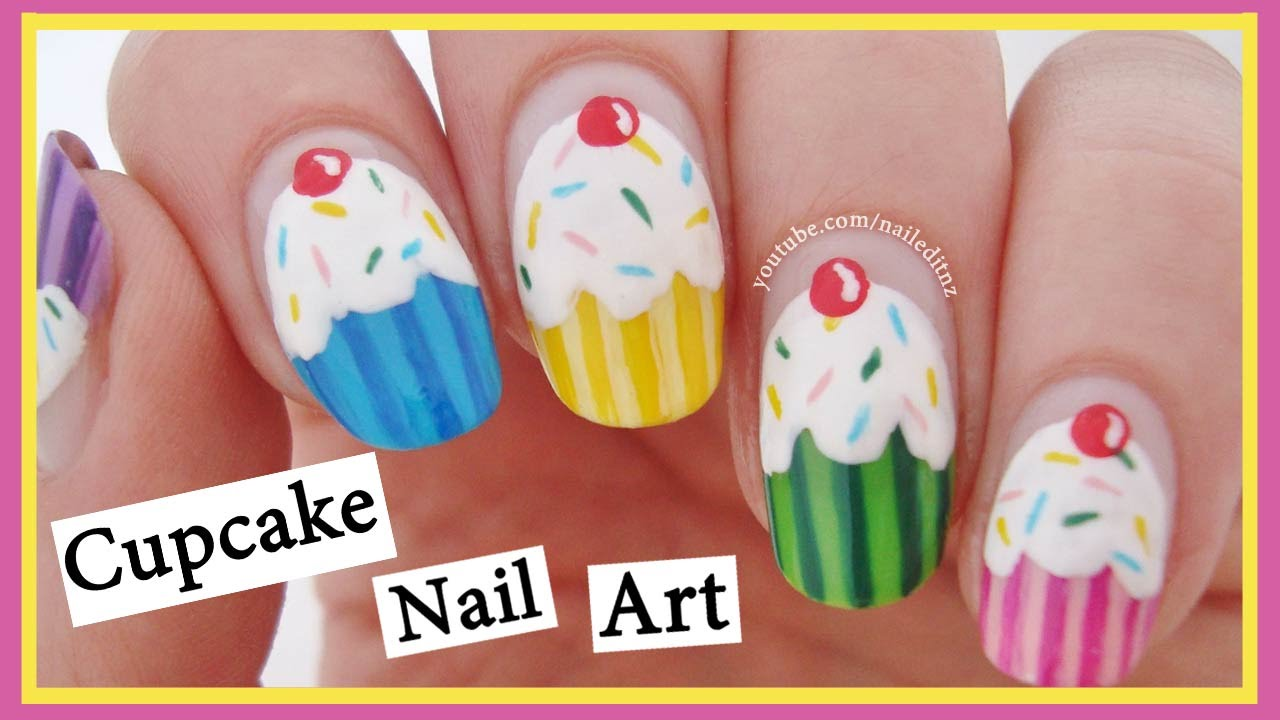 Cupcake Nail Art ♥ Easy & Cute - Cupcake Nail Art ♥ Easy & Cute - YouTube
