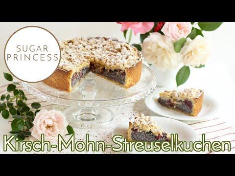 Schneller Streuselkuchen mit Mohn-Pudding-Füllung und Kirschen   Rezept von Sugarprincess   Vegan