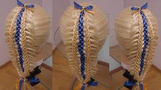 Коса с лентами. Коса Рыбий хвост с лентой. Amazing hair tutorial. Видео-урок.