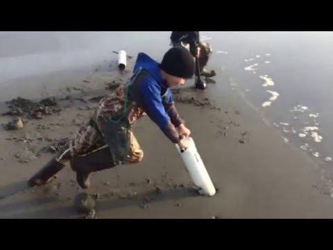 Razor Clamming at Sunset Beach, Oregon. Spring 2016.