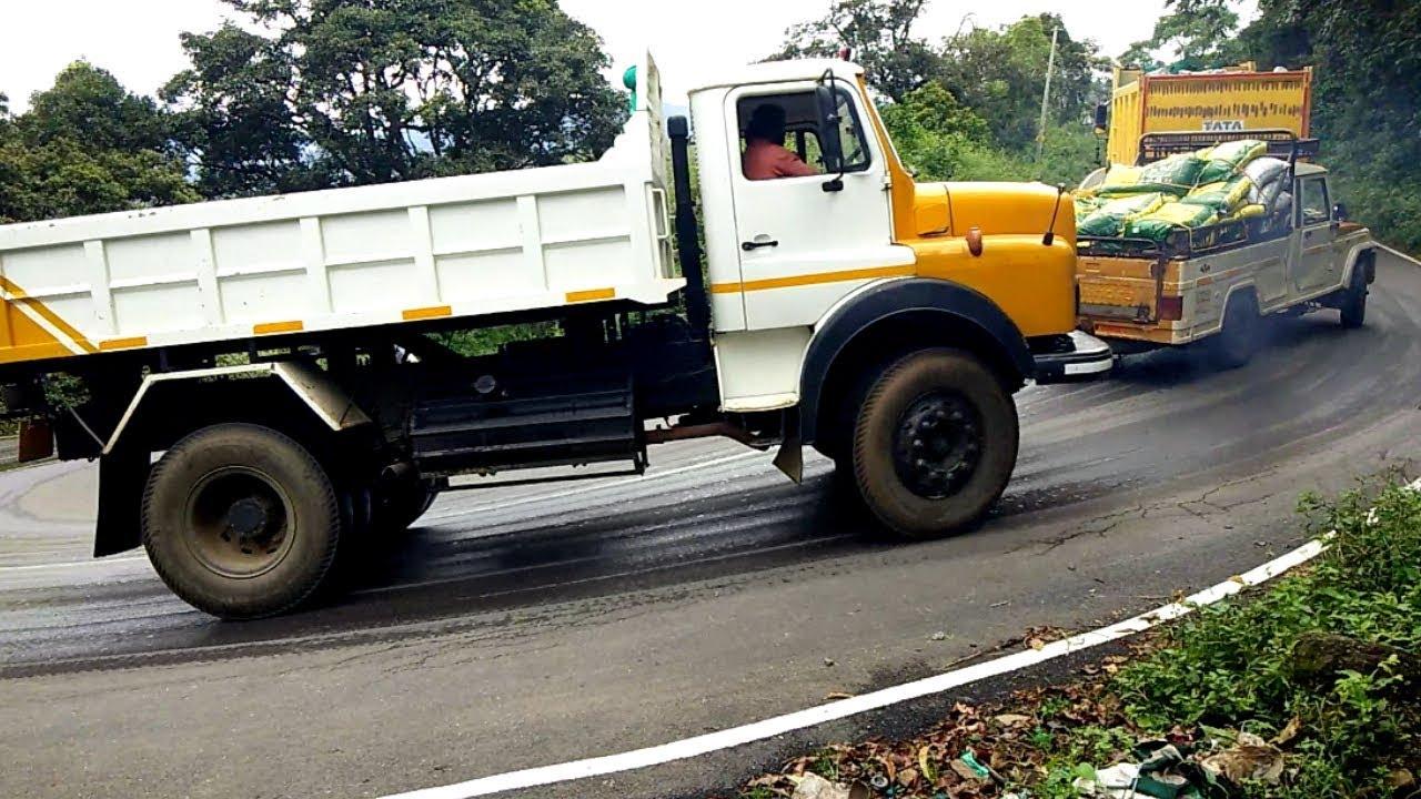 Heavy Load TATA Tipper And Car Auto Turning Kerala Hills Road