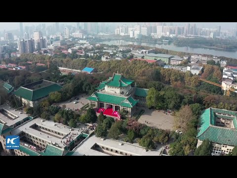 Amazing aerial view of Wuhan University in Hubei, China