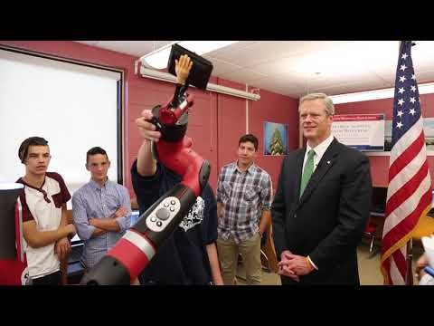 Governor Baker tours Nashoba Valley Technical High School's Engineering Academy