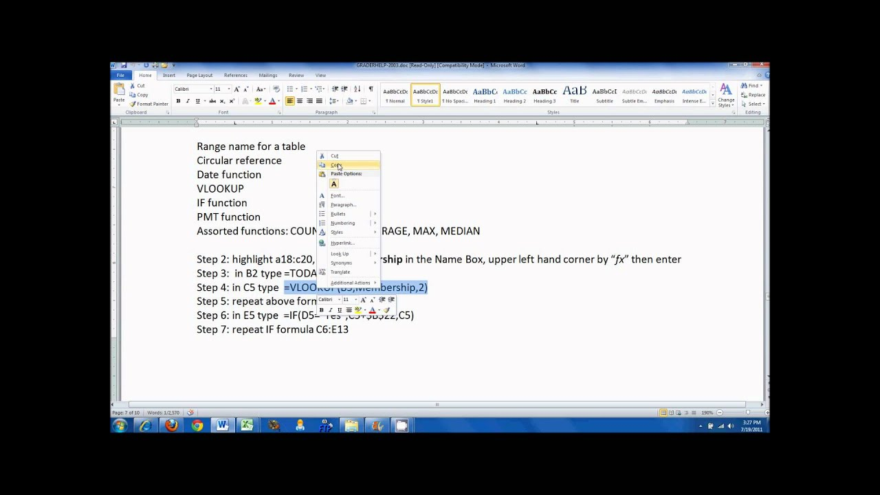 Excel 2010 Assign A Name To A Range
