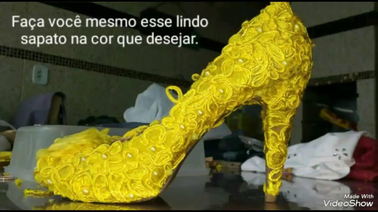 8c7cf5fa6 Sapatos de noiva ou sapato festa customizados. - YouTube
