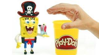 Pirate Spongebob 💕 Superhero Play Doh Stop motion cartoons for kids