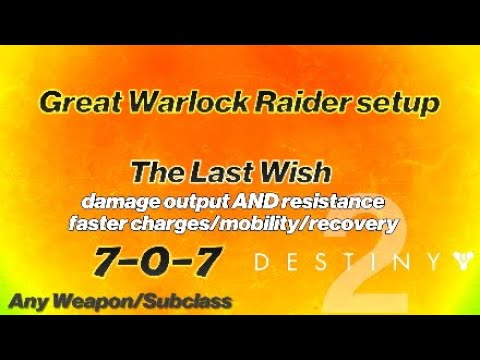 Destiny 2: Warlock RAID BUILD - The Last Wish (Survival & DPS) Taken Barrier/Transcendence Blessing