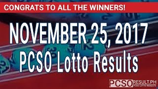 PCSO Lotto Results Today November 25, 2017 (6/55, 6/42, 6D, Swertres & EZ2)