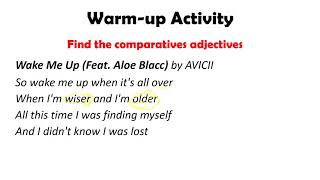 WARM-UP ACTIVITY COMPARATIVES