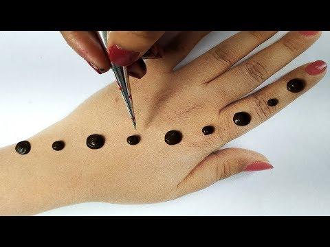 मेहँदी लगाना सीखे आसानी से - गोल टिक्की फ्लावर से मेहँदी डिज़ाइन II Stylish Backhand Shaded Mehndi,
