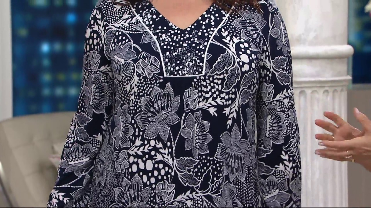 Susan Graver Printed Liquid Knit Top On Qvc Youtube