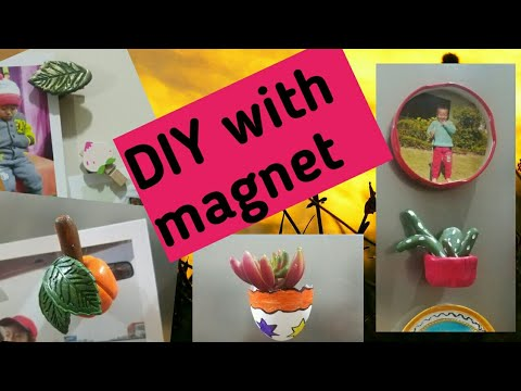 DIY with magnet/clay art/reuse of metal lid/how to decorat outer portion of fridge door with magnet.