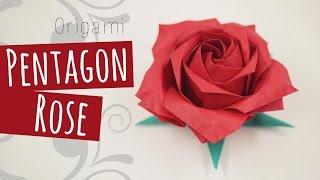 Origami Pentagon Rose (Naomiki Sato) 折り紙バラ