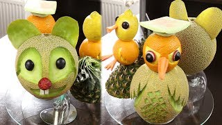 Figurine din fructe si legume.