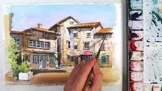 Line and Wash Watercolor :The old village of Perouges in France