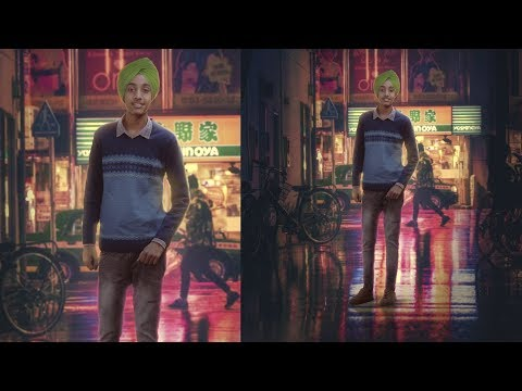 Photoshop manipulation| Night street manipulation | Photoshop Cc| layer breakdown