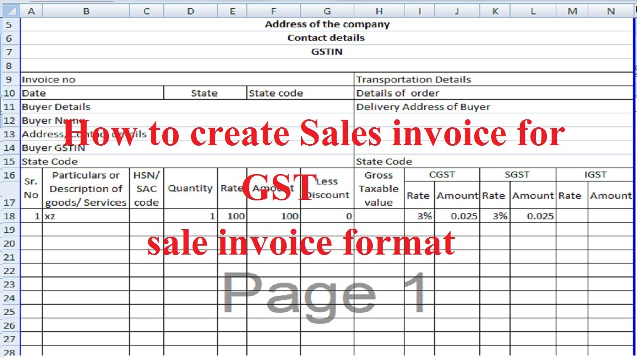 gst invoice using excel file  sales invoice format