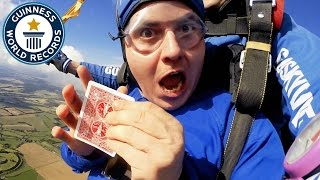 Most magic tricks performed on a skydive - Guinness World Records