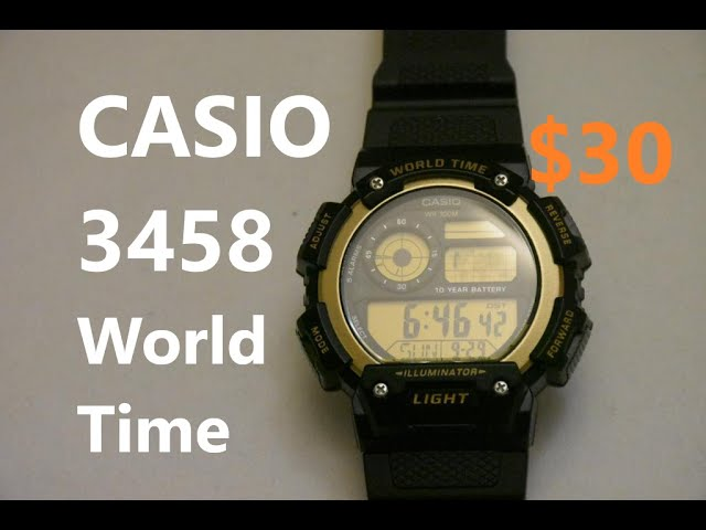 CASIO AE-1400WH Module 3458 - Features and Setting Up procedure - YouTube