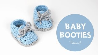 How To Crochet Cute And Easy Baby Booties/ Baby Sneakers | Croby Patterns